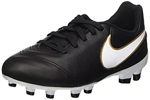 Nike Junior Tiempo Legend VI FG, Chaussures de Football Entrainement mixte enfant, Noir (Black/White Metallic Gold), 36 EU (UK child 4 Enfant UK)