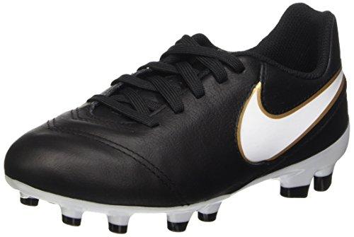 Nike Jr Tiempo Legend Vi Fg Scarpe da calcio allenamento, Unisex bambini, Multicolore (Black/White-Metallic Gold), 37.5 EU