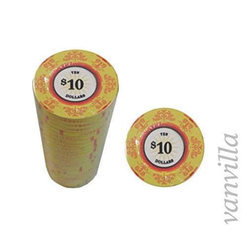 vanvilla Pokerchips Keramik Jetons WERT 10 Keramikchips Poker Pokerchips 10 für Pokerkoffer
