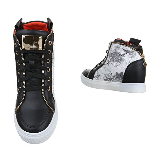 Ital-Design - Pantofole a Stivaletto Donna Nero/Bianco