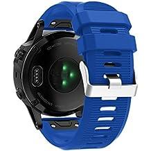 Correa de reloj barato para Garmin Fenix 5X - correa de banda de kit de lanzamiento rápido garmin fenix 5x correa quickfit de silicona para Garmin Fenix Reloj Smartwatch colorful (Azul)