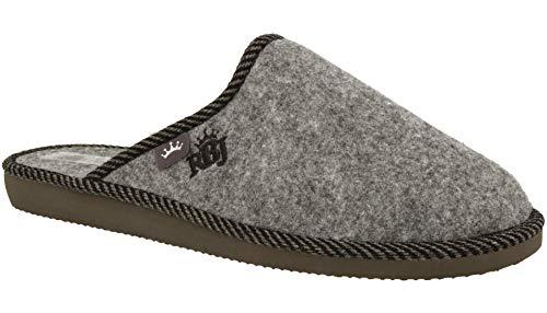 RBJ leather shoes Herren Natur Wollfilz Pantoffeln für Wohlgefühl - warm, atmungsaktiv, natürlich, Handarbeit, Qualität, (45 EU, Grau 905A)