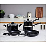 Amazonbasics 5 Piece Non Stick Induction Cookware Set, with Lids