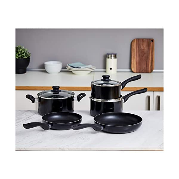 AmazonBasics 5-Piece Non Stick Induction Cookware Set - Including Frying Pan, Saucepan and Casserole with Lids, PFOA&BPA… 2