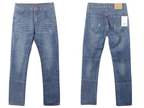 Alice & Elmer Herren Slim Fit Straight Leg Jeans Dunkle Wäsche