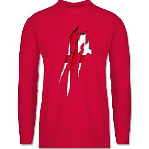 Shirtracer Länder - England Krallenspuren - Herren Langarmshirt Rot