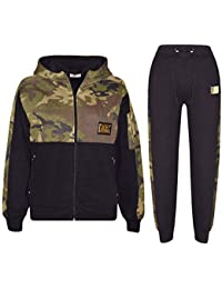 2ebfe167a84 A2Z 4 Kids® Kids Boys Girls Tracksuit Designer s A2Z Badged Camouflage  Green Contrast Panel Hooded Zipped Top Botom Jogging Suit Age…