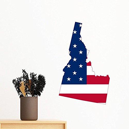 Die Vereinigten Staaten von Amerika USA Idaho Map Stars and Stripes Flagge Form Abnehmbare Wandtattoo Kunst Aufkleber Wandbild DIY Tapete für Raum Aufkleber 40cm (Staaten-map-kunst Vereinigte)