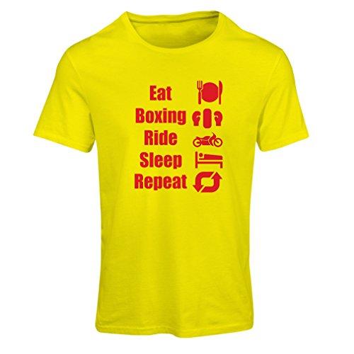 T-shirt femme Eat Sleep Boxing Repeat - pour les combattants et les cavaliers Jaune Rouge