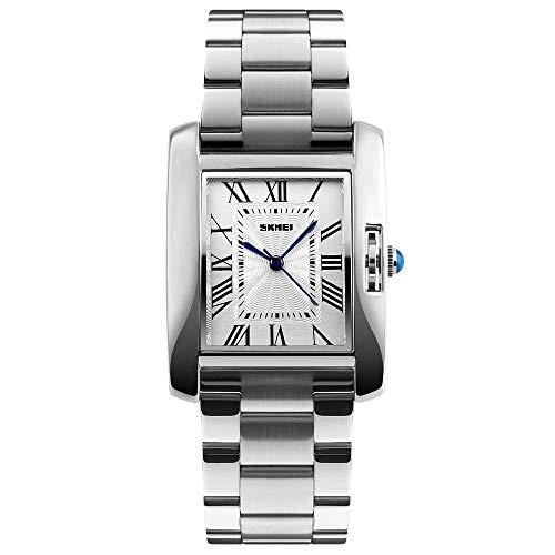 GOHUOS Frauen Armbanduhr, Quarz Analog Rechteck Square Dial Silber Uhr Wasserdicht Luxus Casual Dress Edelstahl Uhren für Damen Frauen Mädchen(Silber)
