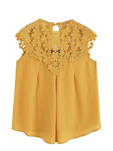 ROMWE Damen Elegant Ärmellos Chiffon Bluse mit Blumen Spitze Shirt Oberteil Bluse Gelb XS