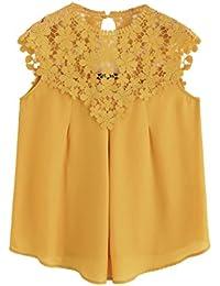 51a9e1a8ef3618 ROMWE Damen Elegant Ärmellos Chiffon Bluse mit Blumen Spitze Shirt Oberteil  Bluse