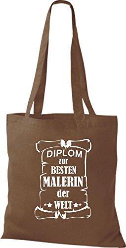 shirtstown Borsa di stoffa DIPLOM A MIGLIOR Malerin DEL MONDO Marrone chiaro