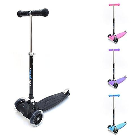 fun pro - der sichere premium Kinder Roller, LED Räder, faltbar, ab 2/3 Jahre (Kinderroller, Kickboard, Tretroller), TÜV geprüft