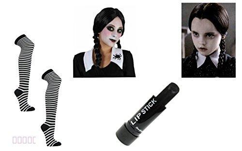 Mittwoch Addams Zopf Halloween Perücke schwarz weiß Socken Lippenstift Fancy Dress K1 (Mittwoch Halloween-kostüm)
