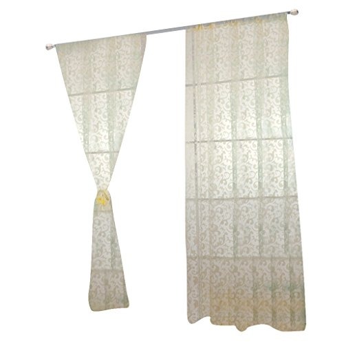 Imported 100*200cm Modern Jacquard Voile Curtain Panel Drapes for Window Door Beige