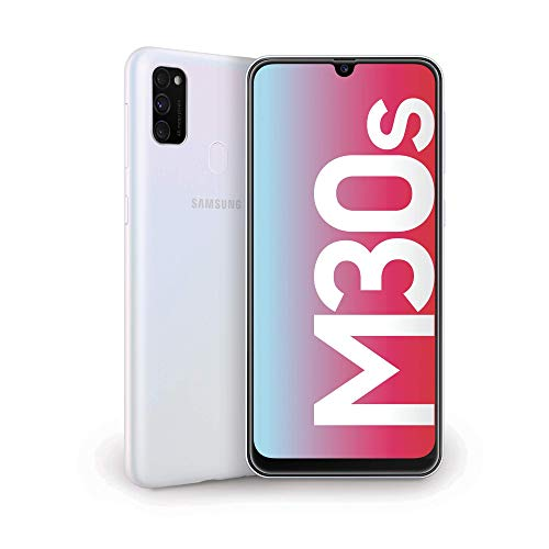 samsung galaxy m30s display 6.4, bianco, 64 gb espandibili, ram 4 gb, batteria 6000 mah, 4g, dual sim, smartphone, android 9 pie - versione italiana [esclusiva amazon]