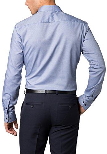 ETERNA Langarm Hemd SLIM FIT Twill strukturiert Blau