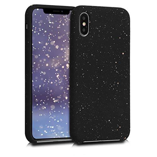 Kwmobile cover in silicone per apple iphone x - con protezione per fotocamera - custodia in silicone tpu e microfibra - back cover bianco/nero