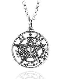EMPATHY JEWELS Colgante Tetragramaton Plata De Ley 925 Amuletos De La Suerte De La Protección. Pentagrama Colgante Hombre Y Mujer Colgante De Plata En Tres Dimensiones 15-25 Y 30 mm De Diametro