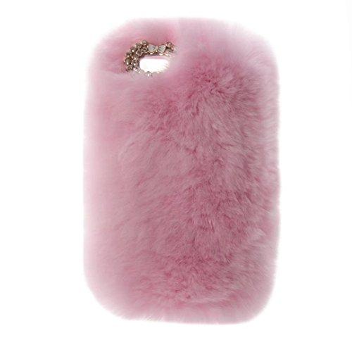 QKKE iPod Touch 56Fall, Cute Luxus Winter Weich Warm Faux Kaninchen Fell Fuzzy Plüsch mit Kristall Niedliche Schleife Schutzhülle Back Cover für Touch 5und Touch 6, Plush/Pink