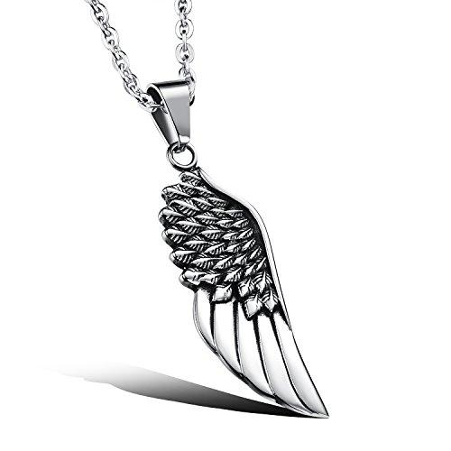 iLove EU Edelstahl Anhänger Halskette Silber Schwarz Feder Engel Flügel Engelsflügel Punk Rock Herren,mit 50cm ()