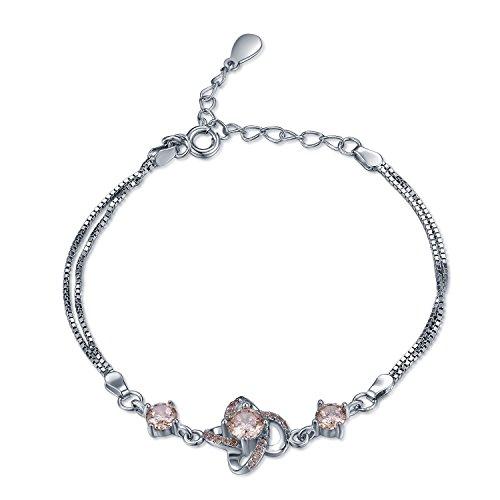 925Sterling Silber Champagner CZ Love Knot Double Box Kette Armband (15,2cm) Frauen Schmuck Geschenk (Tiffany Armband Box)