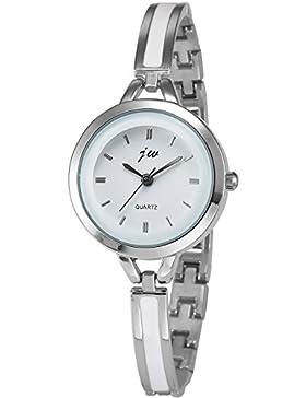 AMPM24 Damen Frauen Analog Quarzuhr Silber Legierung Band Armbanduhr WAA791
