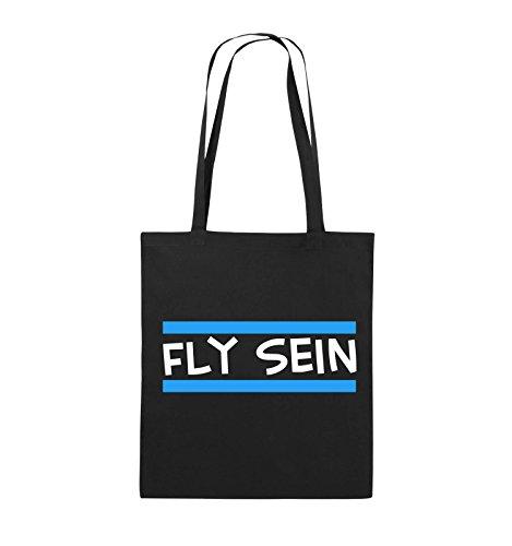 Comedy Bags - Fly sein - Jutebeutel - lange Henkel - 38x42cm - Farbe: Schwarz / Weiss-Neongrün Schwarz / Weiss-Hellblau