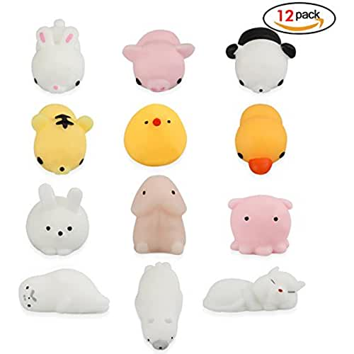mini kawaii miniaturas kawaii Isuper Juguetes de Descompresión Squeeze Toy Cute Animal Gato Cerdo Juguete Stress Reliever 12Pcs Relief Soft Toy