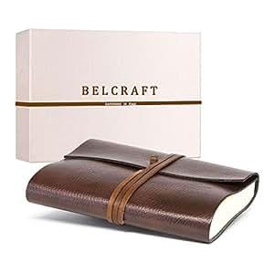 Tivoli A5 mittelgroßes Notizbuch aus recyceltem Leder, Handgearbeitet in klassischem Italienischem Stil, Geschenkschachtel inklusive, Tagebuch A5 (15×21 cm) Braun