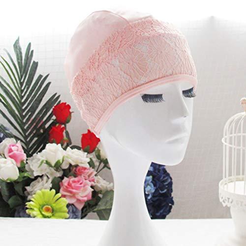 LnLyin Einfach und Eleganz Spitze Badekappe Lange Haare Ohr Wrap Modische Blumen Frauen Schwimmen Hut, Rosa (Schwimmen-kappen Für Frauen Blume)