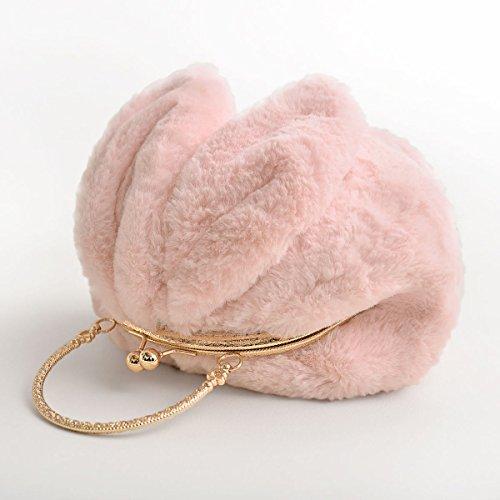 La Signora Pacchetto Peluche Portatile Sveglio Messenger Orecchie Da Coniglio Panini Pink