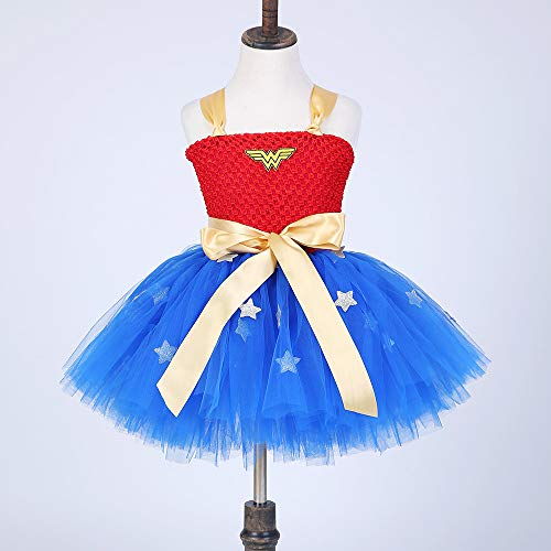 Wonder Woman Costumes Child Cosplay Children's Clothes Superman Spiel Anime Dress Party Party Cospaly Kostüm,Blue,L