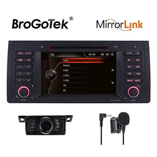 HD 7Zoll Doppel DIN Autoradio-Capacitive Touch Screen GPS Sat Nav Navigation DVD CD für BMW 5E39serias E53X5serias 7E38serias M5-Karte + + Rückfahrkamera Externe mircophone &In