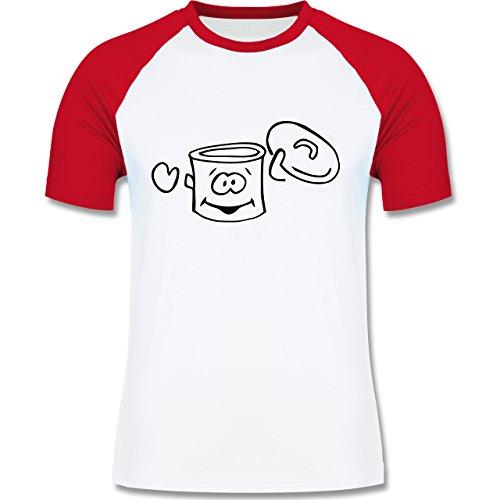 Küche - Kochtopf - zweifarbiges Baseballshirt für Männer Weiß/Rot