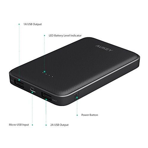 AUKEY-Bateria-Externa-10000mAh-Doble-Puerto-Cargador-Portatil-Compacto-para-iPhone-X-8-Plus-7-6s-Samsung-S8-S8-iPad-Tablets-y-ms