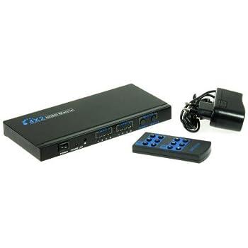 Kanaan HDMI 4x2 Matrix Sélecteur commutateur switch Full HD 1080p HDMI 1.3b + + + télécommande sortie audio RCA