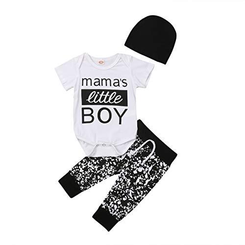 Nansiche Neugeborenes Baby 3 Stücke Mama's Little Boy Muster Strampler Floral Casual Hosen Schwarz Strickmütze Overall Outfit Set (70/0-6M)
