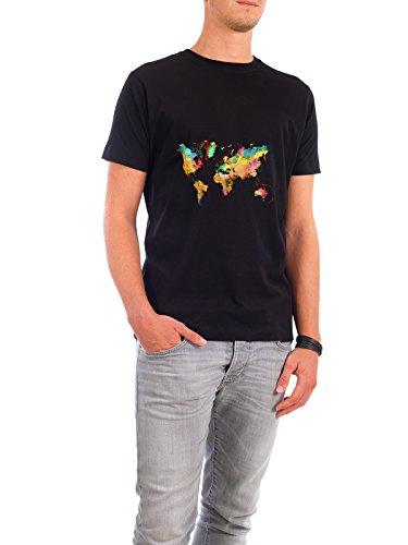 """Design T-Shirt Männer Continental Cotton """"world map 77 color"""" - stylisches Shirt Kartografie Reise Reise / Länder von Justyna Jaszke Schwarz"""
