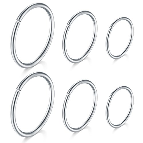 JFORYOU 18G 6 Pcs Silver Stainless Steel Nose Hoop Rings Ear Helix Tragus Cartilage Lip Body Piercing Jewelery 8mm 10mm 12mm