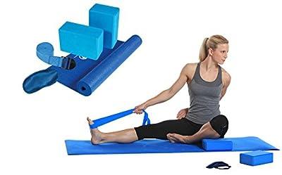 Royalbeach 5-tlg. Yoga-Set | Komplettset | Übungsmatte - Übungsblöcke - Augenklappe - Übungsgurt | Blau | Fittness | Sport | Workout