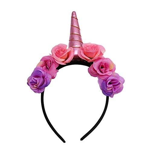 Chinget Kinder Einhorn Stirnband Blume Haar Zubehör für Karneval Halloween Party Verrücktes Kleid Cosplay Kostüm Geschenke (Blau) (Braut Halloween Kostüm Für Kinder)