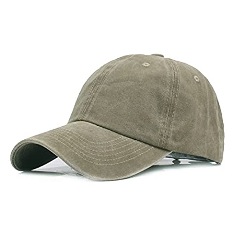 Sunbo Men Washed Cotton Twill Baseball Cap Adjustable Sport Hat Army Green