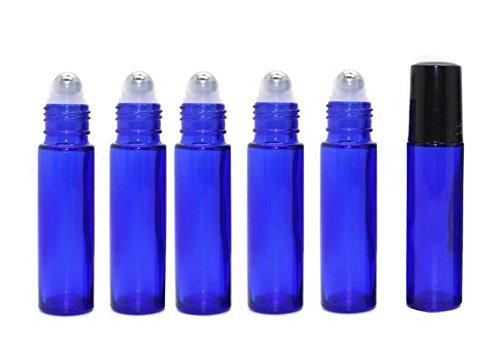 6 STÜCKE 10 ml 0,34 unze Kobaltblau Glasrolle Auf Flaschen Mit Stahl Roller Ball und Schwarz Deckel...