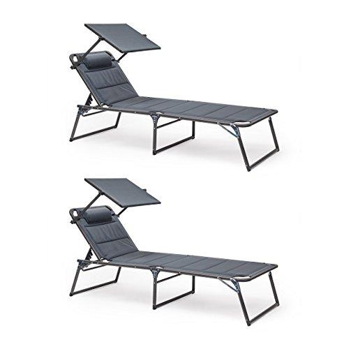2 x Sonnenliege Deluxe im Set, Gartenliege verstellbar, Mit Sonnendach und Nackenrolle, Klappbar,...