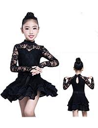 SMACO Trajes De Baile Latino para Niñas Disfraces De Competencia Trajes De Baile De Encaje Respirables