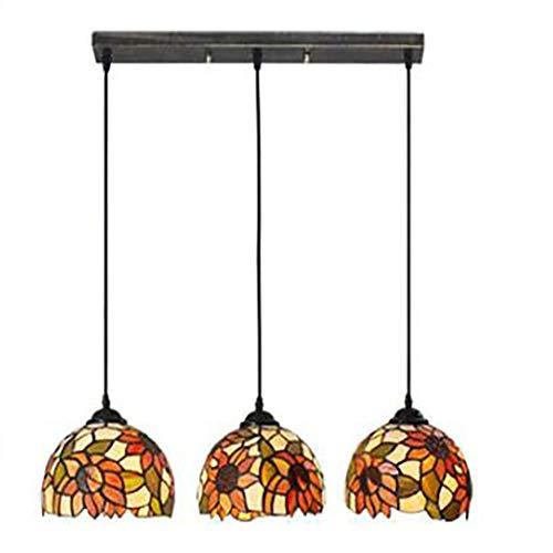 Pastoral Sunflower Tiffany Style Pendelleuchte E27 Glasmalerei Deckenleuchte mit 3-Licht Einfache Restaurant Bar Balkon Kronleuchter,B -