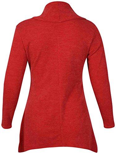 femmes COMPLET manches longues femme extensible col bénitier ourlet asymétrique tricoté pull Sweatshirt grande taille Rouille
