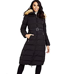 Streetwear Special Mujer larga piel sintética con capucha shell largo invierno acolchado Completo Chaqueta